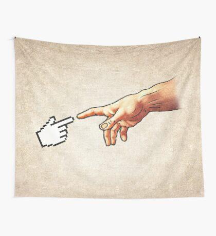 Funny 8bit Nerd & Geek Humor (Creation of Adam Parody) Wall Tapestry