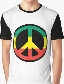 Rasta Peace sign Graphic T-Shirt