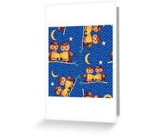Cute Baby owls starry night pattern, moon Greeting Card