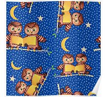 Cute Baby owls starry night pattern, moon Poster