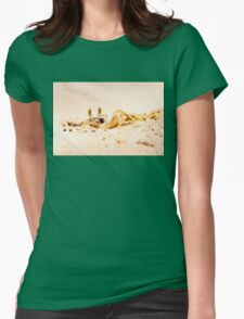 Closeup of Crab digging a hole in the sand Womens Fitted T-Shirt