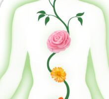 Meditating Woman Chakra Flowers art photo print Sticker