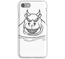 böse dämon satan teufel hölle nilpferd dick wasser schwimmen dick groß see tümpel comic cartoon  iPhone Case/Skin