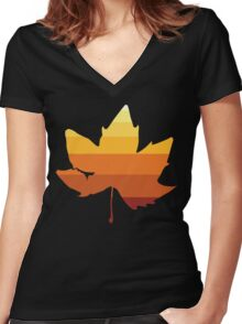 Retro Fall Leaf Women's Fitted V-Neck T-Shirt