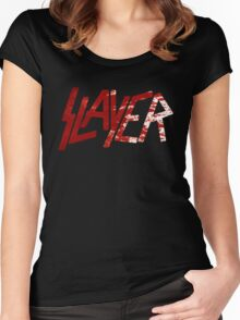 SLAYER Metal Band Logo Blood Spatter BLACK Women's Fitted Scoop T-Shirt