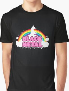 BLACK METAL! (Funny Unicorn / Rainbow Mosh Parody Design) Graphic T-Shirt