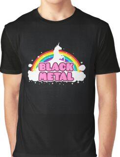BLACK METAL! (Funny Unicorn / Rainbow Mosh Parody Design) Graphic T-Shirt