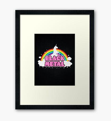 BLACK METAL! (Funny Unicorn / Rainbow Mosh Parody Design) Framed Print