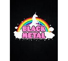BLACK METAL! (Funny Unicorn / Rainbow Mosh Parody Design) Photographic Print