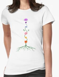 Chakras Shown as Flowers on Stem Growing From Root art photo print Womens Fitted T-Shirt