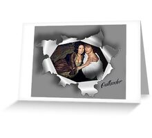 Jamie & Claire in paper tear frame. Greeting Card