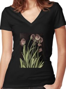 Antique Tulips Women's Fitted V-Neck T-Shirt