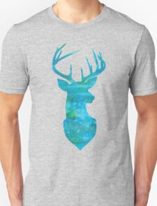 Deer Silhouette in Blue and Turquoise Watercolors Unisex T-Shirt