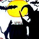 A WITCH STIRS HER CAULDRON ON HALLOWEEN NIGHT by JoAnnHayden