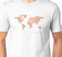 Rose Gold Foil World Map (Matthew 28) Unisex T-Shirt