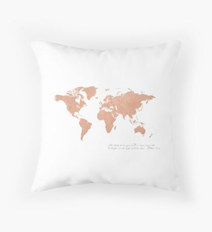 Rose Gold Foil World Map (Matthew 28) Throw Pillow