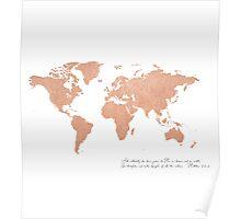 Rose Gold Foil World Map (Matthew 28) Poster