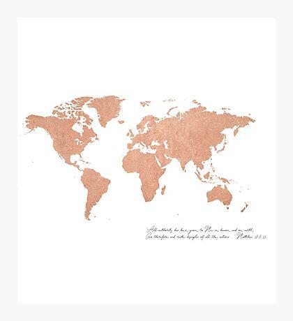 Rose Gold Foil World Map (Matthew 28) Photographic Print