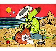 Alien Kid on the Beach with Pet Fox Photographic Print