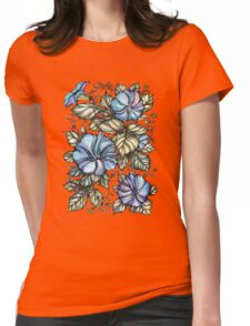 Blue flowers Womens Fitted T-Shirt