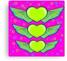 Love Heart Wings Design Green Canvas Print