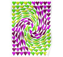 Love Hearts Abstract Multi Twist 2 Poster