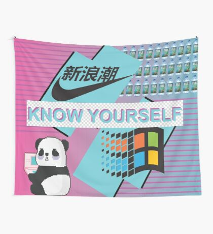 """Vaporwave """"Know yourself"""" Wall Tapestry"""
