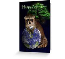 Happy Arbor Day Raccoon Greeting Card