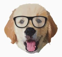 Golden Dog with Glasses One Piece - Short Sleeve