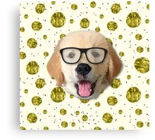 Golden Dog with Glasses Canvas Print