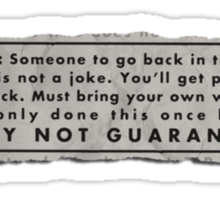 Safety Not Guaranteed Ad Merch Sticker