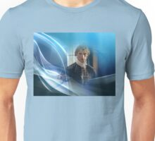 Jamie Fraser in blue swirl and light. Unisex T-Shirt