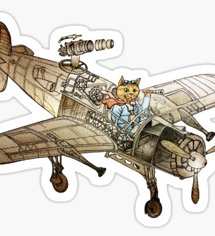 Flying Cat Sticker