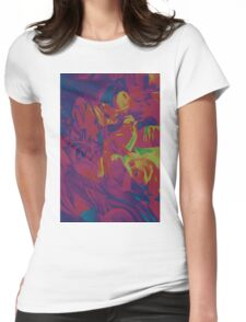 Within my heart a flame of desires, colorful abstract painting with fantasy girls. Womens Fitted T-Shirt