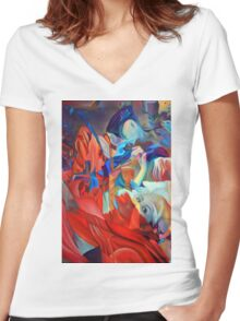 Within my heart a flame of desires, colorful abstract painting with fantasy girls. Women's Fitted V-Neck T-Shirt
