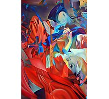 Within my heart a flame of desires, colorful abstract painting with fantasy girls. Photographic Print
