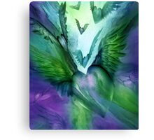 Flight Of The Heart - Green and Purple Canvas Print
