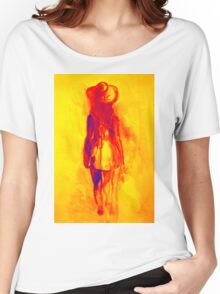Watercolor sketch of girl in summer dress and hat Women's Relaxed Fit T-Shirt