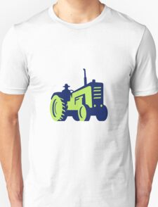 Organic Farmer Driving Vintage Farm Tractor Unisex T-Shirt