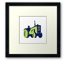 Organic Farmer Driving Vintage Farm Tractor Framed Print