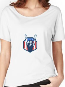 Female American Football Fan Shield Retro Women's Relaxed Fit T-Shirt