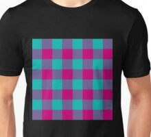 90's Buffalo Check Plaid in Teal and Hot Pink Magenta Unisex T-Shirt