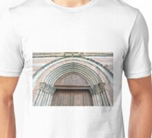 Medieval church entrance with arches in Foligno Unisex T-Shirt