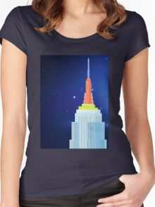 Empire State Building New York Illustration Women's Fitted Scoop T-Shirt