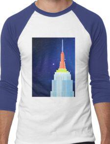 Empire State Building New York Illustration Men's Baseball ¾ T-Shirt