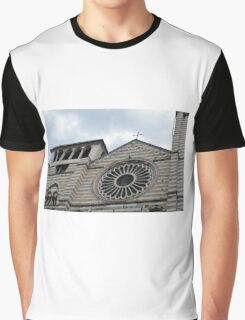 Cathedral in Genova with white and black marble stripes Graphic T-Shirt