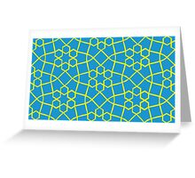 Geometric yellow and blue snowflake tile pattern Greeting Card