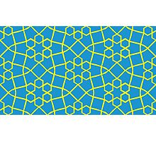 Geometric yellow and blue snowflake tile pattern Photographic Print