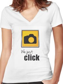 We Just Click Women's Fitted V-Neck T-Shirt