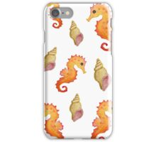 Sea Inspired pattern. Seahorses and shells. Watercolour hand painted art. iPhone Case/Skin
